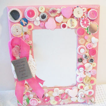 Pink Breast Cancer Awareness Wall Mirror Embellished Upcycled Repurposed Buttons Jewelry