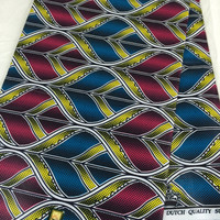 Made in Mali--African Wax Print Fabric--Ankara Fabric--Turquoise/Hot Pink/Yellow Abstract Leaves--African Fabric by the HALF YARD