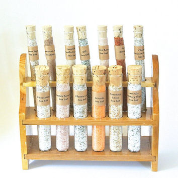 Test Tube Salt Sampler- 13 Gourmet Sea Salts in Test Tubes, Seasoning, Meat Rub, Finishing Salt, Chef Gift Set, Mad Scientist Spice Set