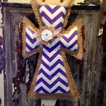 Medium Purple Chevron Burlap cross