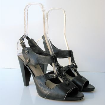 Via Spiga Strappy Leather Stacked Cone Heel Sandals 10