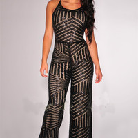 Black Spaghetti Strap Flared Leg Sequined Jumpsuit