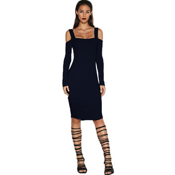 Fashion Low Chest Back Hollow Bandage Long Sleeve Tight Mini Dress