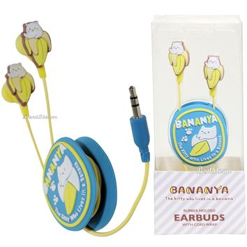 Licensed cool Anime Bananya Wrap Around Earbuds In Ear Cat Who Lives in Banana Crunchyroll NEW
