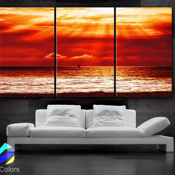 "LARGE 30""x 60"" 3 Panels Art Canvas Print beautiful Beach Sunset red Yellow Ocean Wall home office interior decor(Included framed 1.5"" depth)"