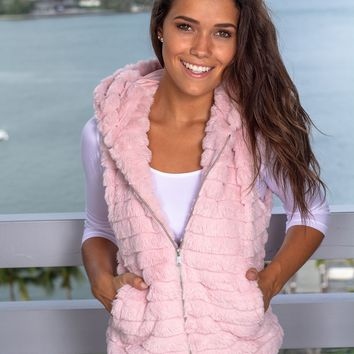 Pink Fuzzy Vest with Hood