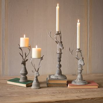 Deer Taper & Pillar Candle Holders, Set of Two