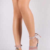 Denim Open Toe Lace Up Strappy Rope Flat Sandal