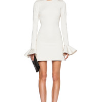 David Koma Peplum Sleeve Mini Dress in Ivory | FWRD