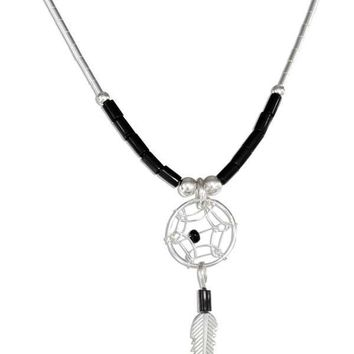 """Sterling Silver Necklaces: 20"""" Simulated Black Onyx Heishi Bead Dreamcatcher Necklace"""