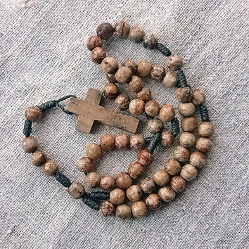 vintage rosary retro rosary religious crucifix wood cross crucifix wood Beads Spirituality Religion Religious Jewelry Handmade MyWealth