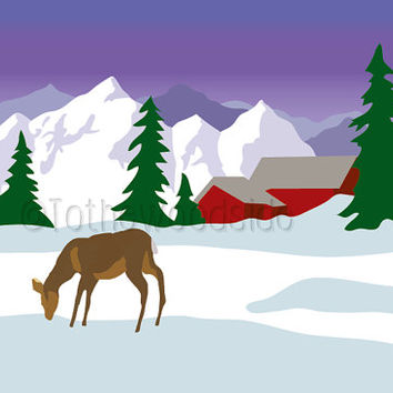 Mountain Print, Deer Print, Abstract Art, Winter Scene, Snow Scene Print, Cabin  Print, Alpine Print, Printable Art, High Resolution Print