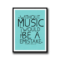 Frederich Nietzsche Inspirational Quotes About Music Blue Minimalist Typography Wall Poster