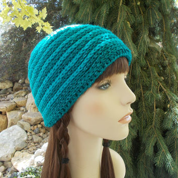 Blue on Blue Striped Beanie Hat