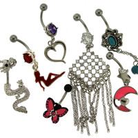 Assortment-A11 of 5 Belly Rings - Limited 1 per Order per Day.