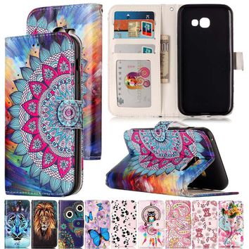 Varnish Relief Leather Case For Samsung Galaxy A3 2017 Leather Flip Wallet Phone Cover For Galaxy A5 2017 Mobile Phone Shell