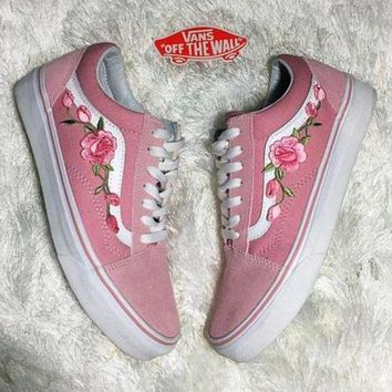 DCK7YE Vans Classics Old Skool Rose Embroidery Sport Sneaker Flats Shoes
