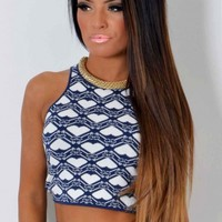 Love Story Heart Print Knitted Crop Top | Pink Boutique