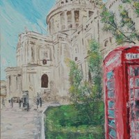 View: LONDON palette knife painting 60x120x4 cm Large painting S042 OOAK St Paul's Cathedral decor original big art ready to hang painting acrylic on stretched canvas wall art by artist Ksavera | Artfinder