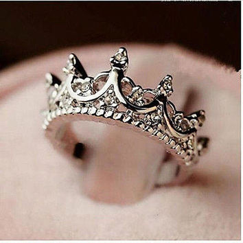 Creative Bling Bling Elegant Queen Silver Crown Clear Crystal Ring