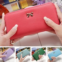 2018 Fashion Cute Bowknot Women Long Wallet Pure Color Clutch Bag Purse Phone Card Holder Bag Wallet for Female