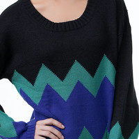 Ziggy Black Oversized Sweater - Unique Vintage