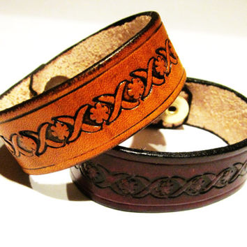 Hand Tooled Leather Cuff with Flower Design, Hand Tooled Leather Wristband, Leather Jewelry, Woman's Wristband