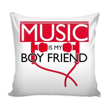 Graphic Pillow Cover Music Is My Boyfriend