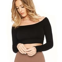 The NW Off Shoulder Crop - Tops - Womens Nakedwardrobe