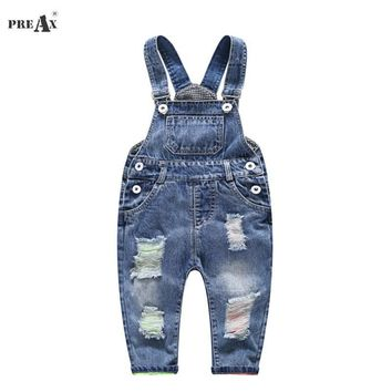 2018 Spring Autumn Baby Denim Suspenders Boys Girls Jeans Overalls All-Match Kids Jumpsuit Butter Siamese Trousers Pants 1-4T