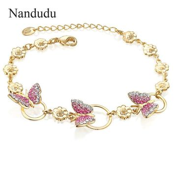 Nandudu Gold Color Stellux Austrian Crystal Butterfly and Flower Charm Bracelet for Women Girl Lady Bangle Accessories Gift B827