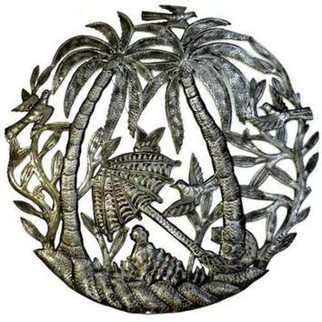 Steel Drum Art - 24 inch Palm Trees and Umbrella - Croix des Bouquets