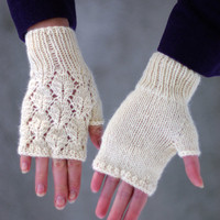 Lace fingerless gloves, arm warmers, gloves, lace gloves, fingerless mittens, wrist warmers, armwarmers, romantic knit gloves, hand warmers