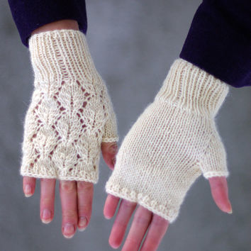 Knitting Pattern For Lace Gloves : Lace fingerless mittens knitting pattern, from ESTtoYou on ETSY