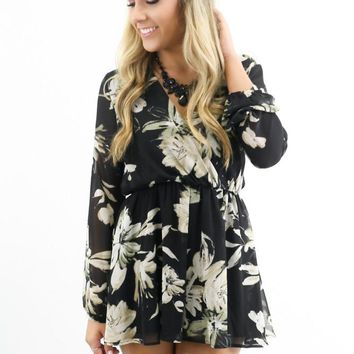 Top Floor Black Floral Long Sleeve Romper