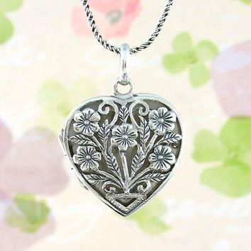 Ornate Floral Heart Locket Necklace with Open Scrollwork