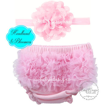 Newborn Baby Girl Bloomers Headband Set  Ruffle Cotton Diaper Cover Pink | Hot Pants | Shorts | Ruffle Bum Cover | Flower Bow Headband