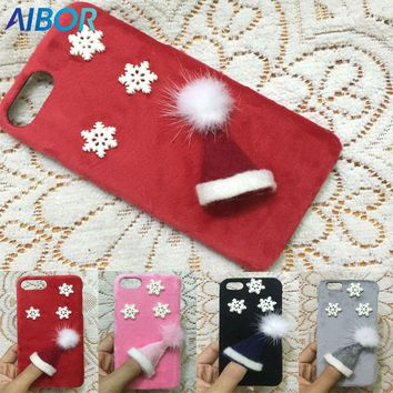 AIBOR Lovely 3D plush Christmas Cap for iPhone 8 7 6 6S Plus 5s 5 se X 3D Hat Cute Fur Cover Case Accessories Warm Winter Cover