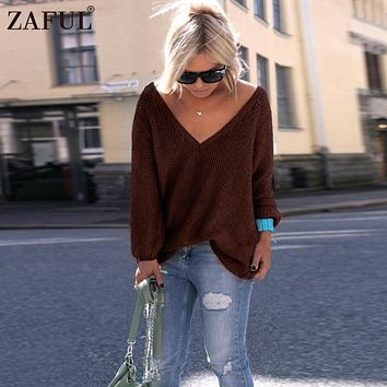 ZAFUL10 colors V Neck Long Sweater Women Jumpers Pullovers 2017 New Autumn Winter Casual Long Sleeve Knitted Sweaters pull femme