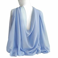 "Airy Light Blue Wide Long Shiny Scarf for Women Formal Evening Wrap With Gift Box Wedding Shawl Lightweight Cocktail Chiffon Stoles 77"" x 27"""