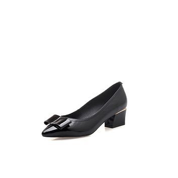 Pointed Toe Bow Tie Mid Heels Chunky Pumps