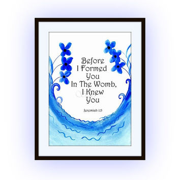 Bible verse, 5 sizes Printable Wall Art, home decor verses, scripture decals, Jeremiah 1:5, Before I formed you in the womb, blue sea beach