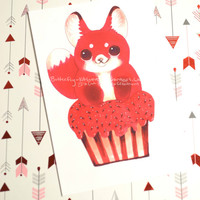 "Foxy Cupcake Print Red Fox Valentine's Day Birthday card Wall Art 6""x4"""