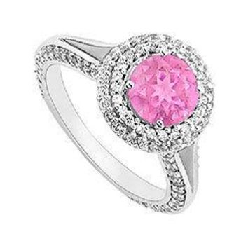 Pink Sapphire and Diamond Engagement Ring : 14K White Gold 2.00 CT TGW