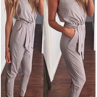Stylish Sleeveless Round-neck Jumpsuit [10417019783]