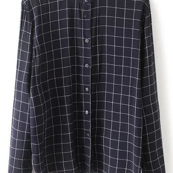 Navy Stand Collar Plaid Slim Blouse