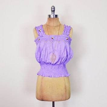 Vintage 70s 80s Purple Mexican Shirt Mexican Blouse Mexican Top Tank Top Mexican Embroider Shirt Embroider Blouse Embroider Top Hippie Boho