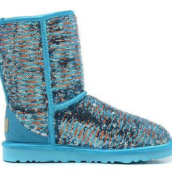 ESBON UGG 1002978 Flipped Over Sparkles Women Fashion Casual Wool Winter Snow Boots Green