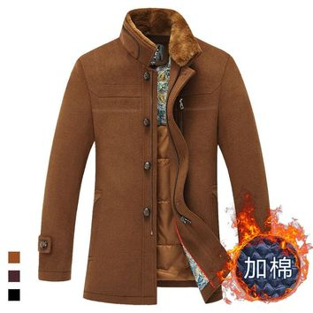 2015 new winter men's wool coat long thick fur collar trench coat men jacket
