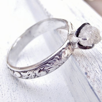 Rough Uncut Diamond Ring Rustic Sterling Silver